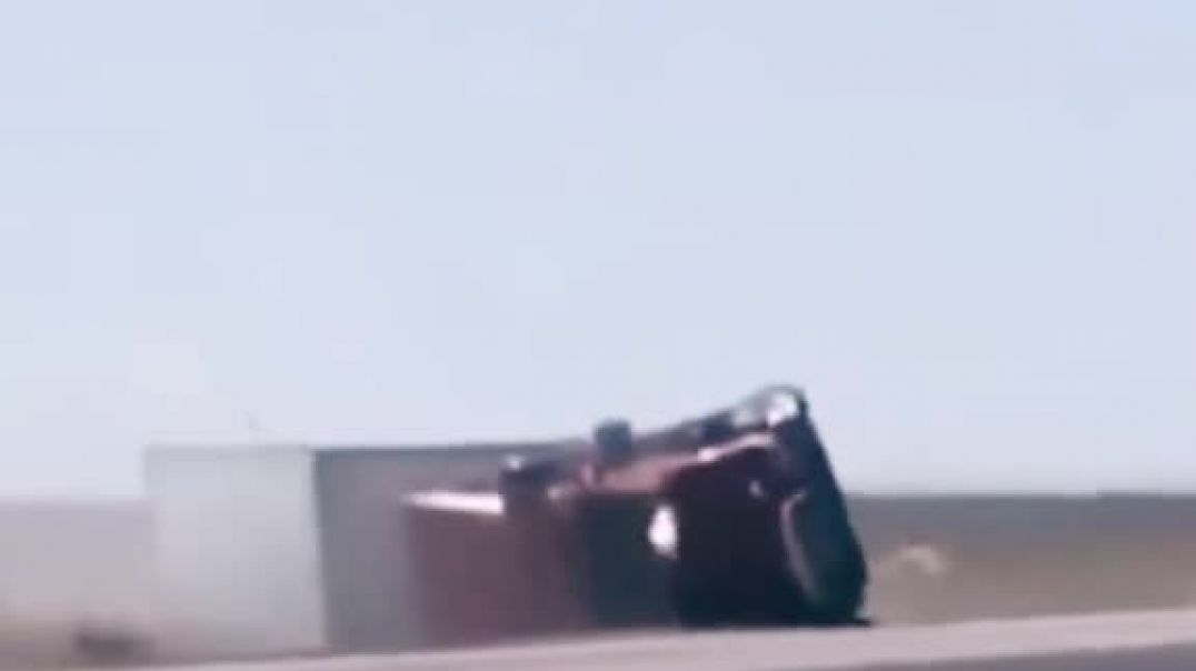 Strong Wind Turn Over A Truck