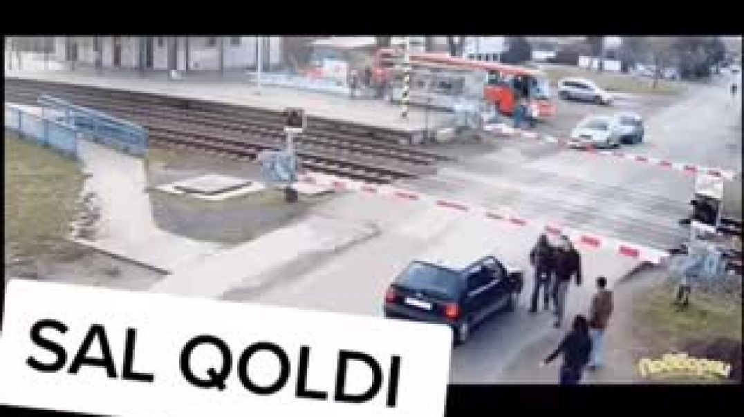 Car Almost Crashed By Train