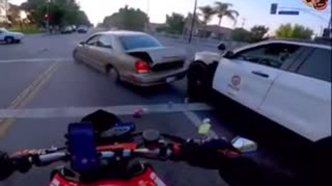 Car Accident In front Of Police Car