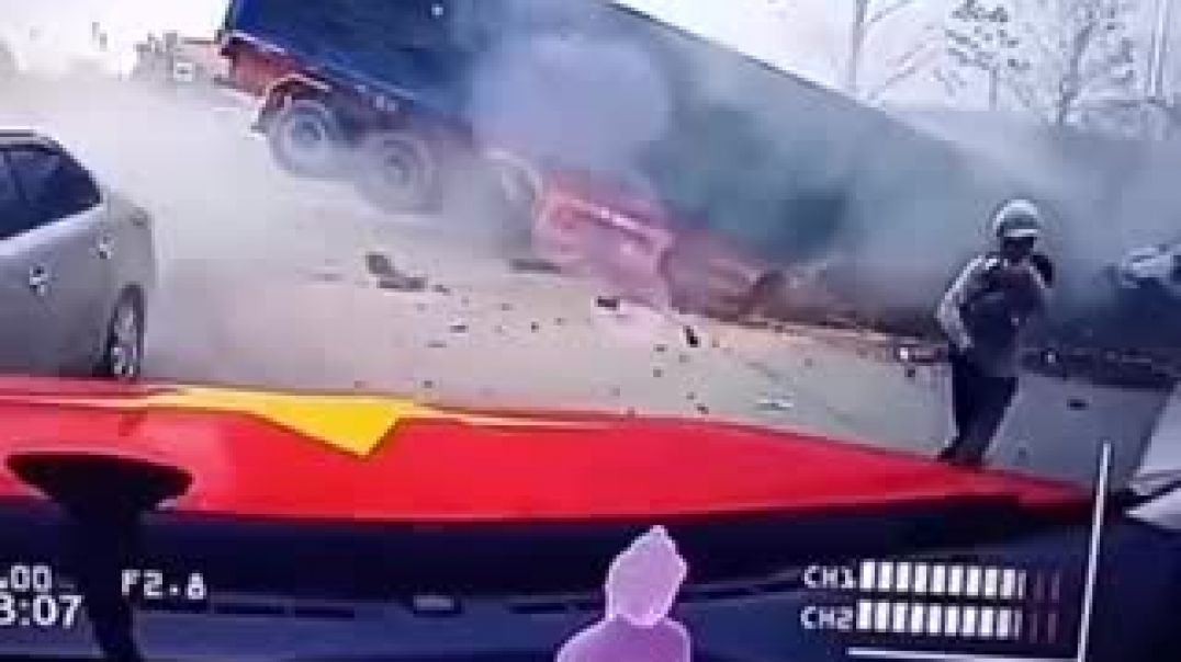 Mother And Baby Nearly Hit By Truck