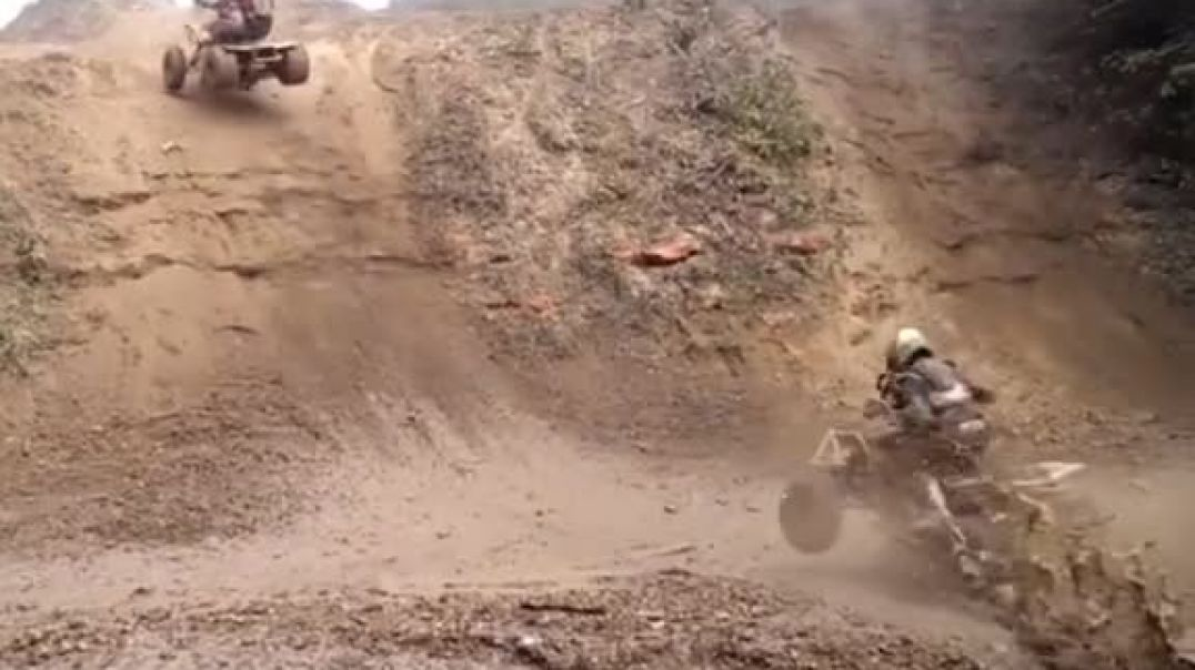 ATV Rider Get  Squished By Other ATV Rider