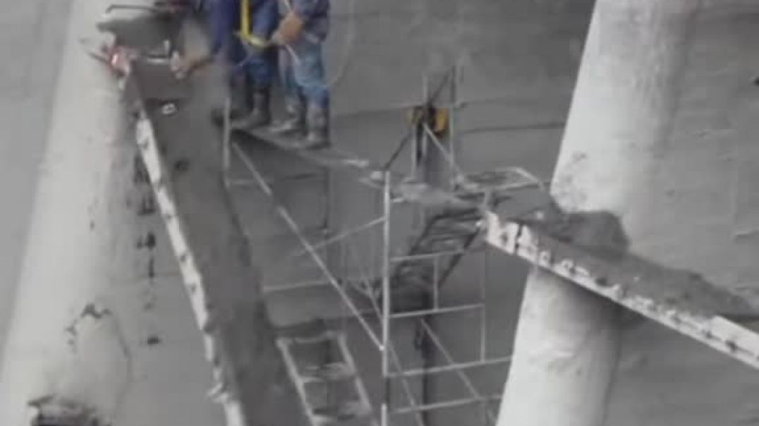 Construction Workers Save By Safety Rope From Falling