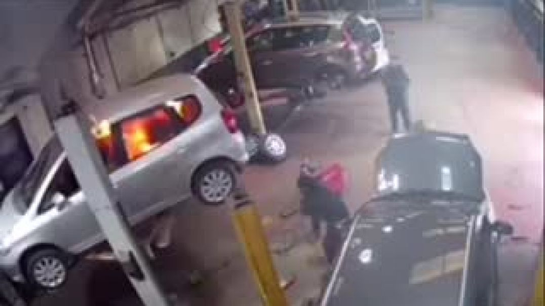 Car Caught On Fire While Being Repair