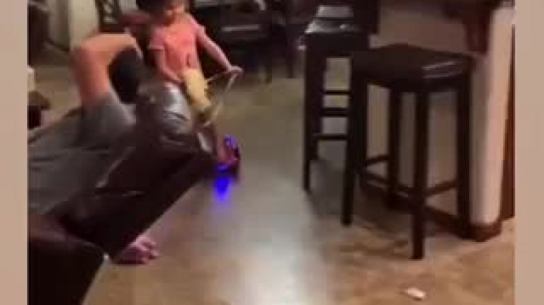 Young Girls Play Riding Horses Using Hoverboard
